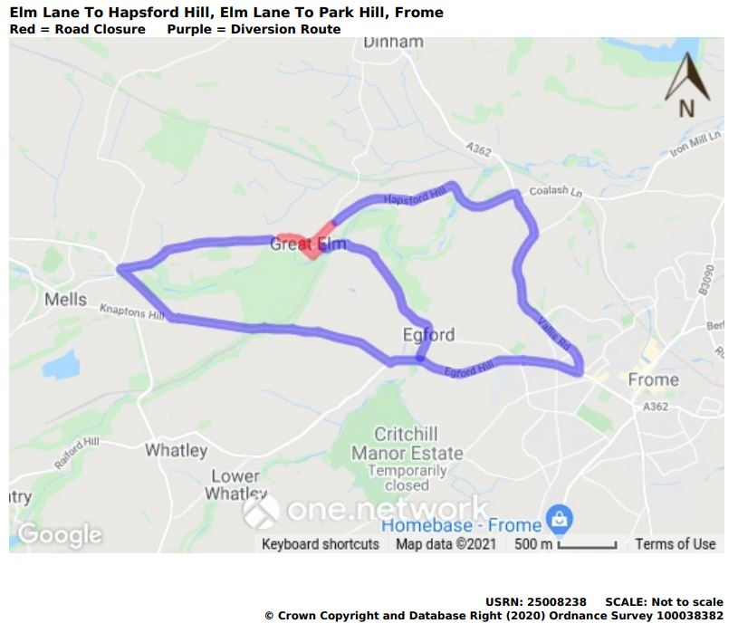 Map of Elm Lane road closure September 2021
