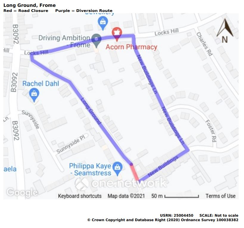 Map of Long Ground road closure