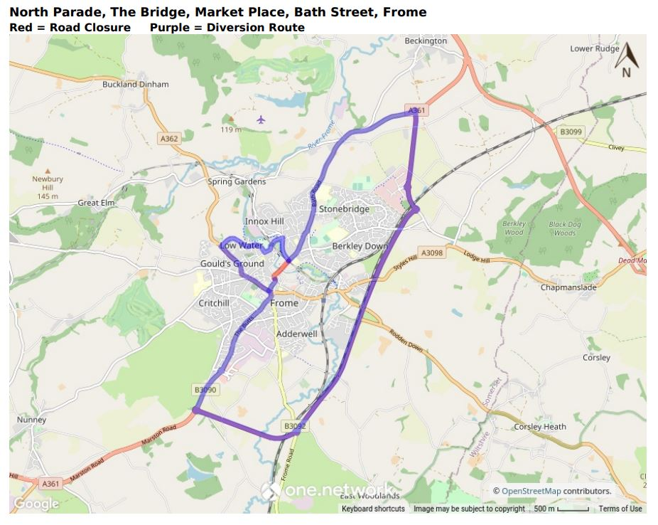 Map of North Parade, Bath Street, Market Place and The Bridge road closure