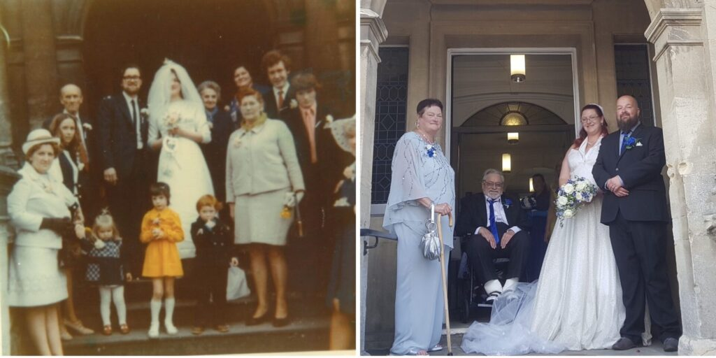 Two photos of weddings at Frome Town Hall one from 1973 and the other 2021