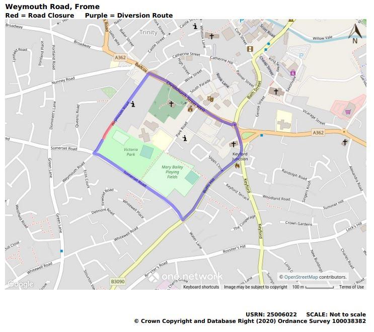 Weymouth Road temporary road closure map