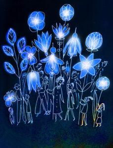enchanted garden lanterns illustration